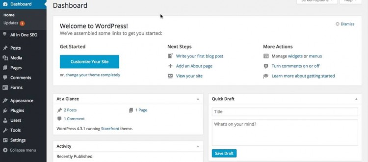masuk dashboard wordpress | Ompact.my